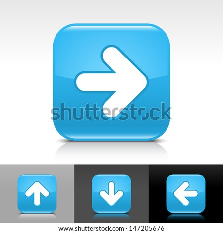 Arrow icon set. Blue glossy web button with white sign. Rounded square shape with shadow, reflection on white, gray, black background. Vector illustration design element save in 8 eps  - stock vector