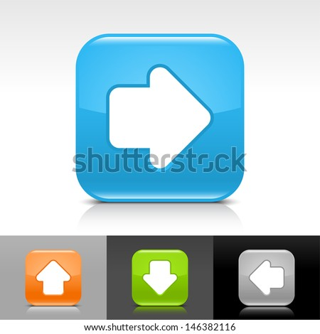 Arrow icon set. Blue, orange, green, gray color glossy web button with white sign. Rounded square shape with shadow, reflection on white, gray, black background. Vector illustration element 8 eps  - stock vector