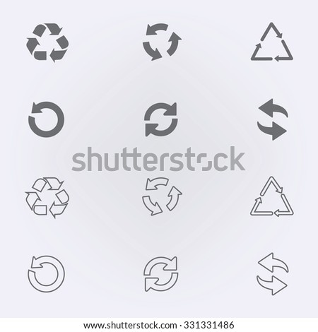 Arrow icon set or recycle symbol . Vector illustration - stock vector