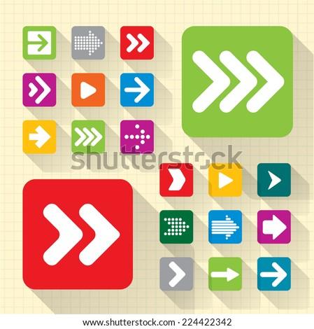 Arrow icon set. Vector.  - stock vector