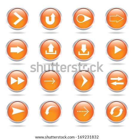 arrow icon set with white background - stock vector