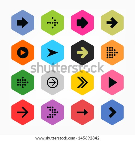 Arrow icon sign set 01. Black on color. Simple rounded hexagon internet button. Solid plain color flat tile. New minimal contemporary metro style. Vector illustration web design elements 8 eps - stock vector