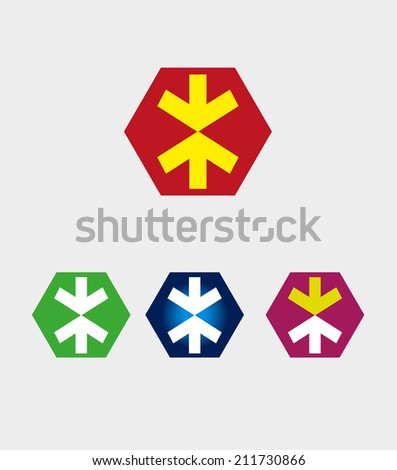 Arrow icon with hexagons symbol  - stock vector