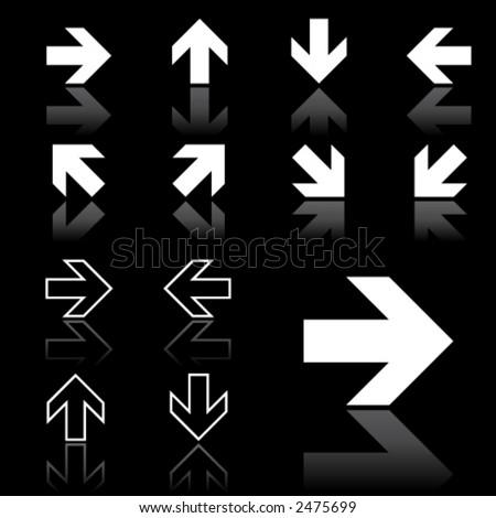 arrow icons (dark version) - stock vector