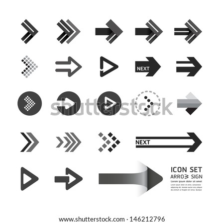 arrow icons design set / can be used for infographics   / graphic or website layout vector - stock vector