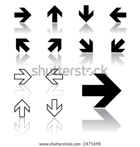 arrow icons (light version) - stock vector