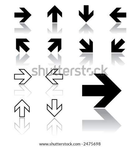 arrow icons (light version) - stock vector