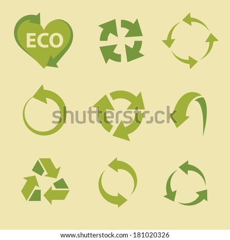 arrow icons set collections. recycling green ecological symbols isolated on beige background. vector illustration  - stock vector