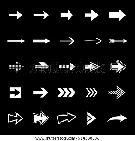 Arrow icons set - vector illustration. Different shape - isolated on black background, graphic design. Modern color style