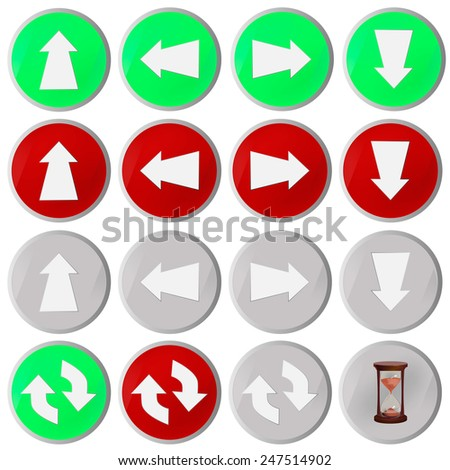 Arrow icons to the left, right, back, forward, up, down, all around, to update. set - stock vector