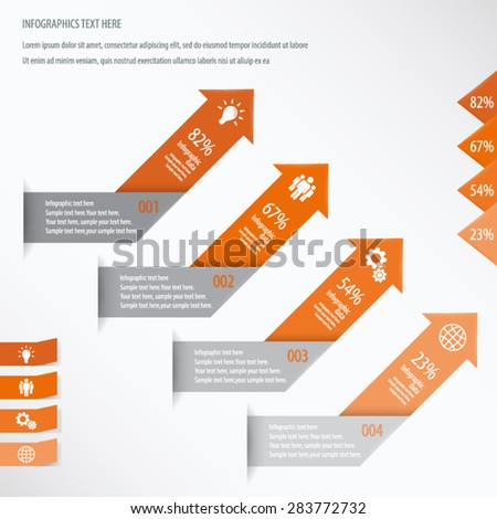 Arrow Infographic Background - Icons and arrows for 4 options. Orange. EPS10 vector. - stock vector
