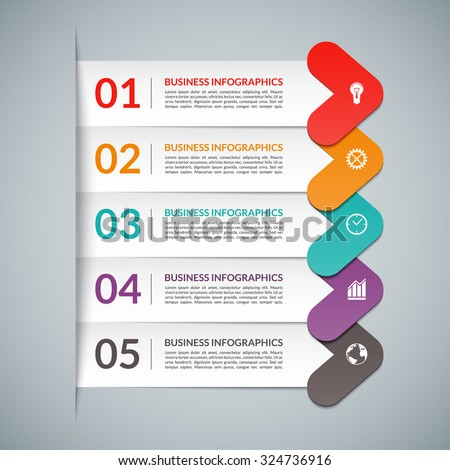 Arrow infographic design elements. Business template for diagram, graph, report, presentation, workflow layout, web design. 5 steps, parts, options, stages. Origami style. Vector illustration - stock vector