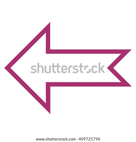 Arrow Left vector icon. Style is contour icon symbol, purple color, white background.