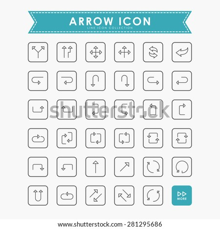 arrow line icons - stock vector
