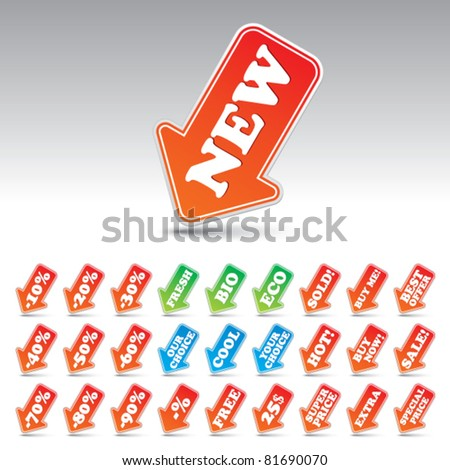 Arrow price labels - set of over 30 different titles. Vector. - stock vector