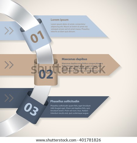 Arrow ribbons around metallic ring infographic template with 3 options - stock vector