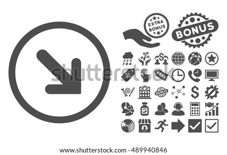Arrow Right-Down pictograph with bonus pictograph collection. Vector illustration style is flat iconic symbols, gray color, white background.