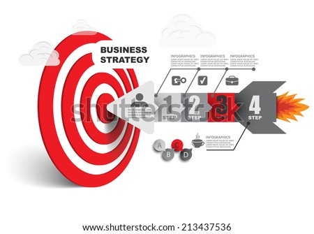 arrow right on target / vector illustration infographics flat style - stock vector