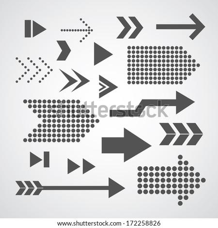 arrow set symbol on gray background  - stock vector
