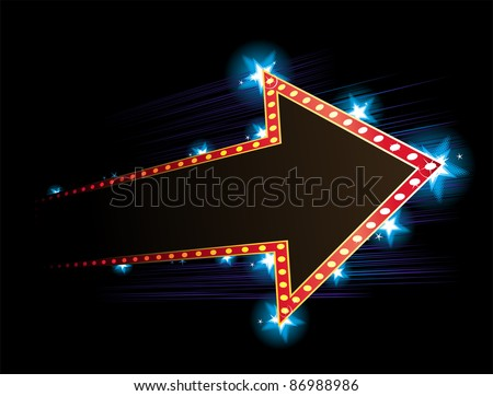 Arrow shape neon with star in background - stock vector