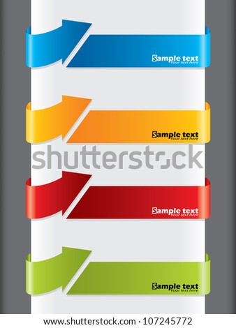Arrow shaped advertising label set of four - stock vector