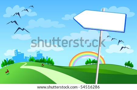 Arrow-shaped sign with a landscape background. Vector