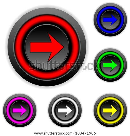 Arrow sign buttons set on white background.