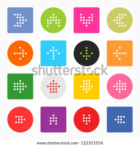 Arrow sign digital display. Popular colors icon. Simple circle shape internet button. Solid plain monochrome color flat tile. New minimal metro style. Vector illustration web design elements 8 eps - stock vector