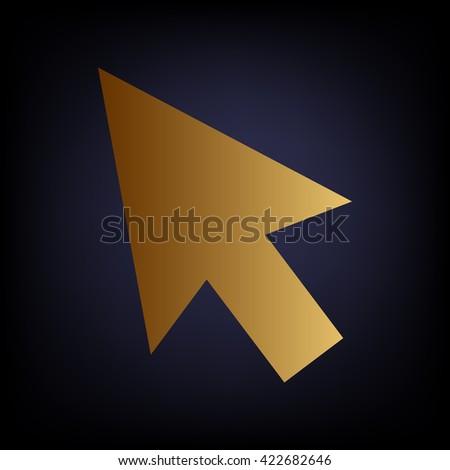 Arrow sign. Golden style icon - stock vector