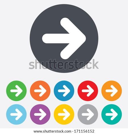 Arrow sign icon. Next button. Navigation symbol. Round colourful 11 buttons. Vector - stock vector