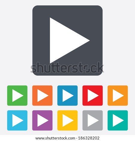 Arrow sign icon. Next button. Navigation symbol. Rounded squares 11 buttons. Vector - stock vector