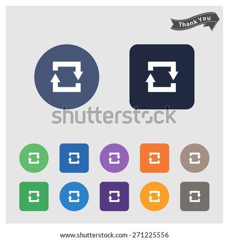 Arrow sign icon. Refresh button. Reload symbol. sync Icon Set. Flat Icons. Vector Arrows Set in Circles & rectangular Isolated on different Background - stock vector