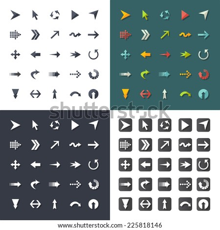 Arrow sign icon set. Set elements for design. Vector illustration. - stock vector