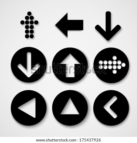 Arrow sign icon set. Simple circle shape internet button on gray background. Contemporary modern style. Vector illustration. - stock vector