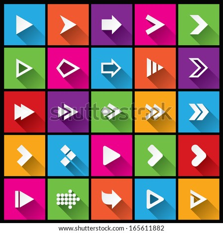 Arrow sign icon set. Simple square shape buttons. Flat icons for Web and Mobile App. 25 metro style buttons. Cut from paper. - stock vector