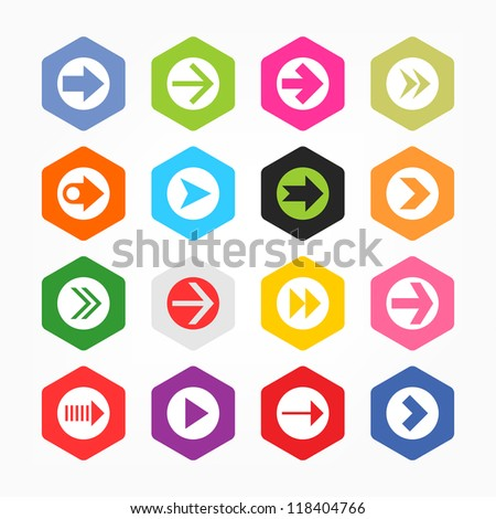 Arrow sign in white circle icon set. Simple rounded hexagon internet button gray background. Minimal contemporary metro style. Solid plain monochrome color flat tile. Web design elements in 8 eps - stock vector