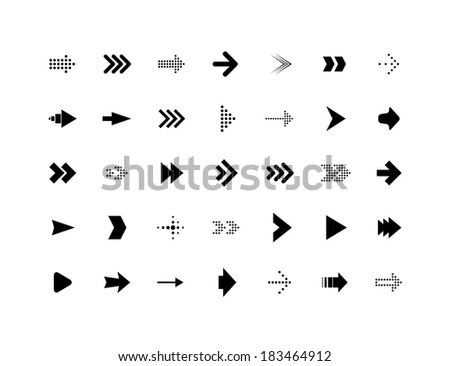 Arrow sign vector icons set, simple flat pictogram - stock vector