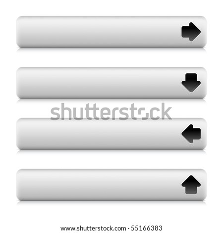 Arrow sign web 2.0 button navigation panel.  Rounded white stone rectangle shapes with shadow and reflection on white - stock vector