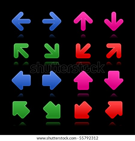 Arrow sign web 2.0 internet buttons. Satin colored shapes with reflections and shadows on black background - stock vector