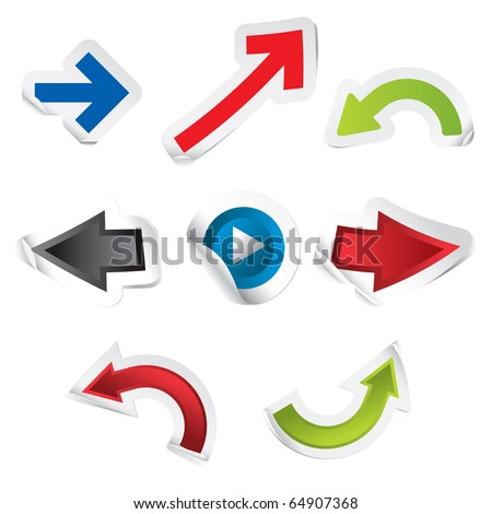 Arrow Stickers - stock vector
