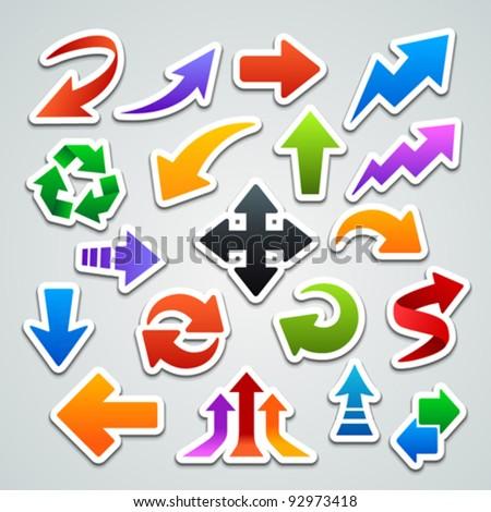 arrow stickers - stock vector