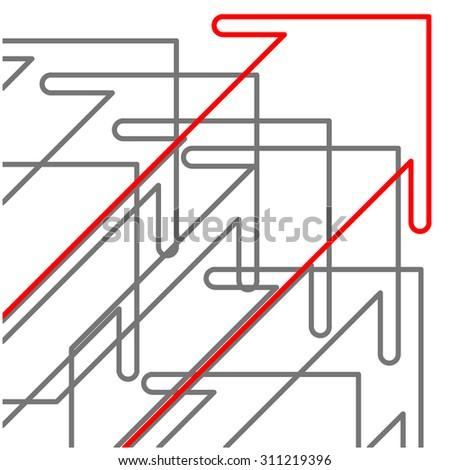 Arrow  success concept - Thin line flat design - stock vector