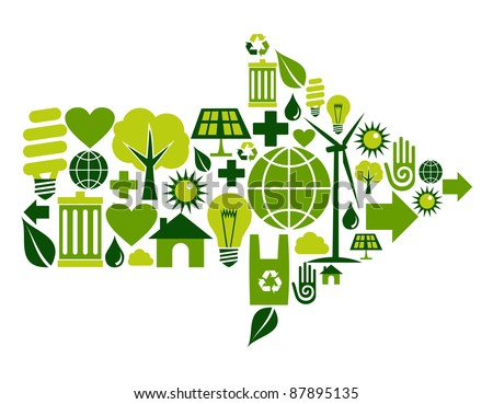 Arrow symbol made with green environment icons set. - stock vector