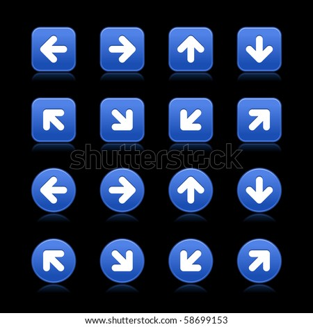 Arrow symbol web 2.0 internet buttons. Cobalt smooth square and round shapes with reflections on black background - stock vector