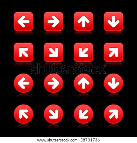 Arrow symbol web 2.0 internet buttons. Red smooth square and round shapes with reflections on black background - stock vector