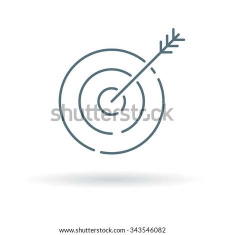 Arrow target icon. Arrow target sign. Arrow target symbol. Thin line icon on white background. Vector illustration. - stock vector