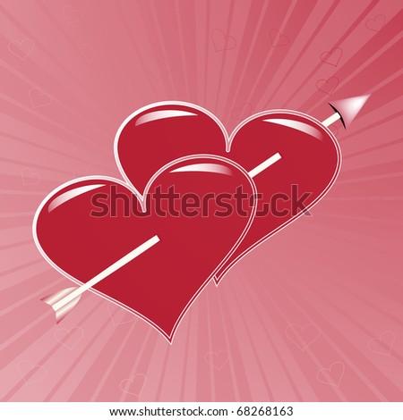Arrow through two dark red hearts - stock vector
