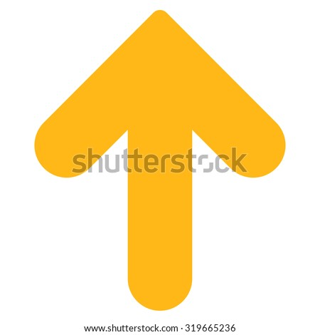 Arrow Up icon from Primitive Set. This isolated flat symbol is drawn with yellow color on a white background, angles are rounded. - stock vector