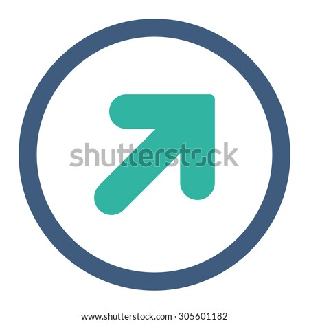 Arrow Up Right vector icon. This rounded flat symbol is drawn with cobalt and cyan colors on a white background. - stock vector