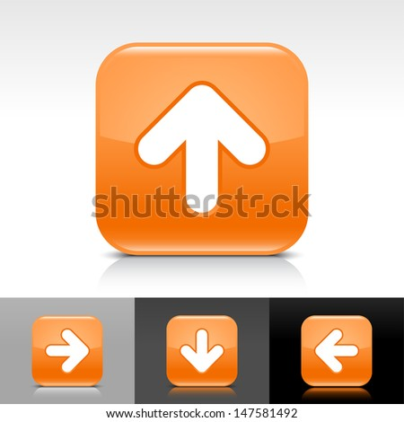 Arrow upload icon. Orange color glossy web button with white sign. Rounded square shape with shadow, reflection on white, gray, black background. Vector illustration design element 8 eps  - stock vector